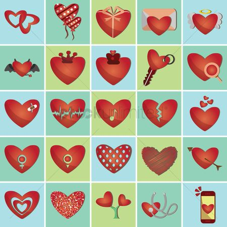 Dialogue : Set of heart icons