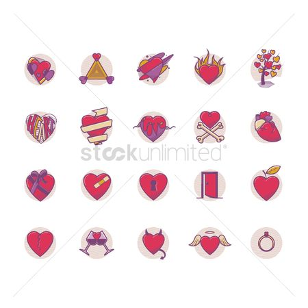 Devils : Set of heart icons