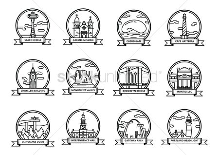 Needle : Set of historical usa landmarks