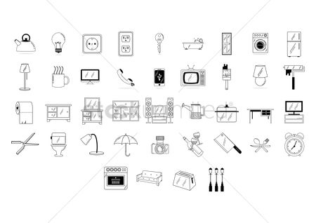 Fork : Set of home appliance icons