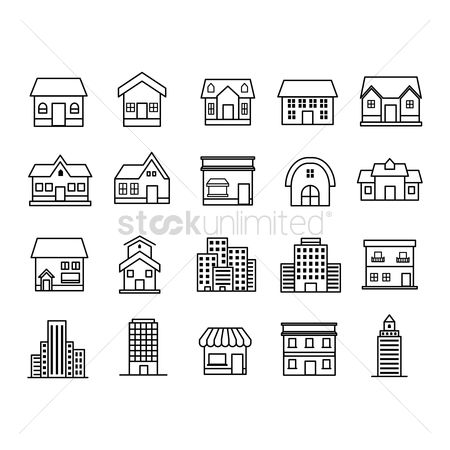 Linear : Set of house icons
