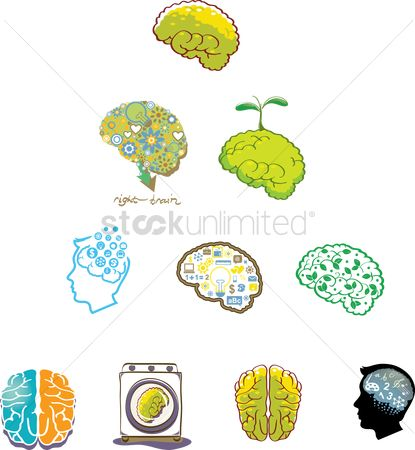 Love speech bubble : Set of human brains