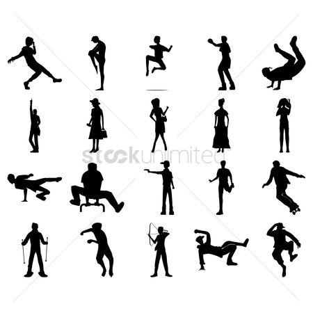 Dancing : Set of human silhouettes