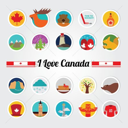 Mitten : Set of i love canada icons