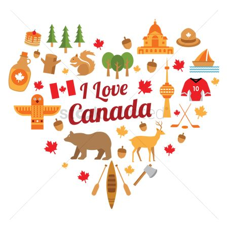 Paddle : Set of i love canada icons
