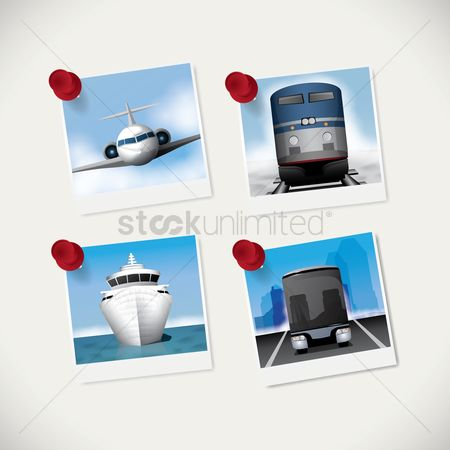 Transport : Set of instant photographs