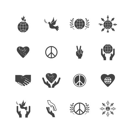 Heart shape : Set of international peace day icons