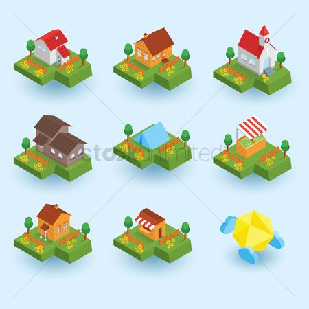 Food cart : Set of isometric buildings