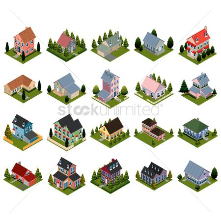 Dimensional : Set of isometric houses