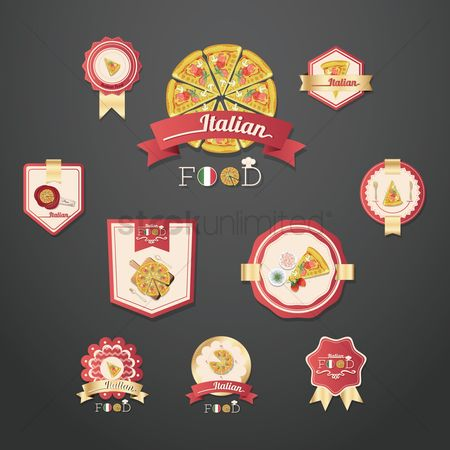 Pizzas : Set of italian food