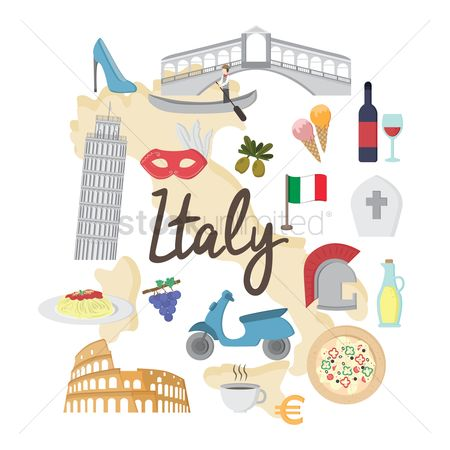 Tricolored : Set of italy icons