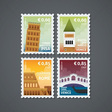 Pisa : Set of italy postage stamps
