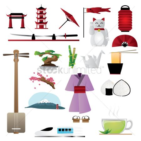 Japanese cuisines : Set of japan general icons