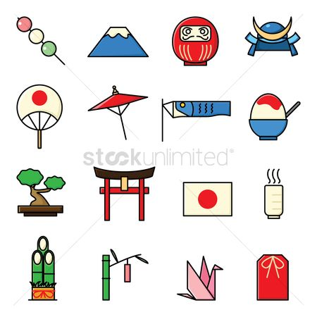 Shaved ice : Set of japan icons