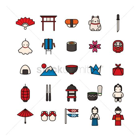 Oil drum : Set of japan icons