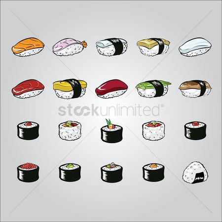 Japanese cuisines : Set of japanese sushis