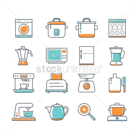 Washing machine : Set of kitchen icons