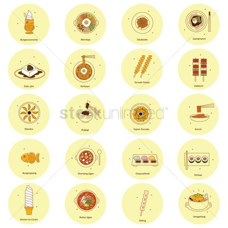 Serve : Set of korean food icons