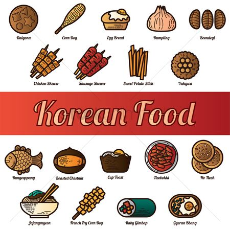 Dishes : Set of korean food icons