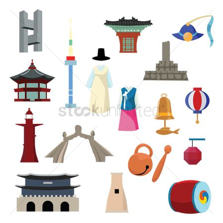 Wooden sign : Set of korean themed icons