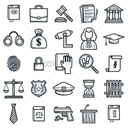Briefcases : Set of law icons