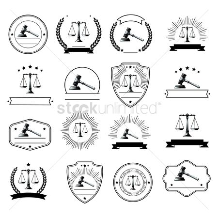 Laurel : Set of law logo element icons