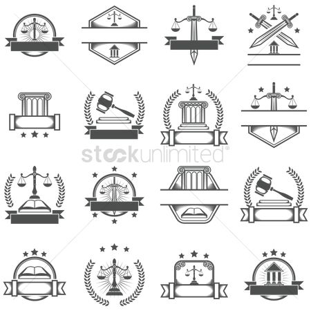 Career : Set of law logo element icons