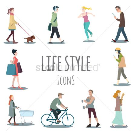 Cartoon : Set of lifestyle icons