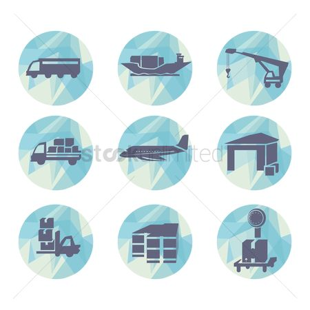 Hand truck : Set of logistic icons