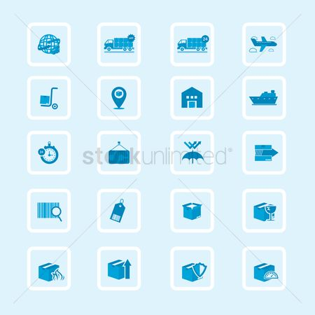 Hand truck : Set of logistics icons
