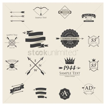 Classic : Set of logo element icons