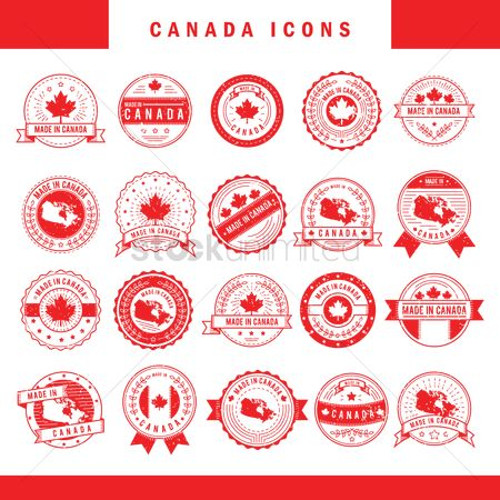 Laurel : Set of made in canada label icons