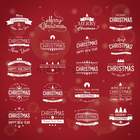 Wallpaper : Set of merry christmas and happy new year greetings