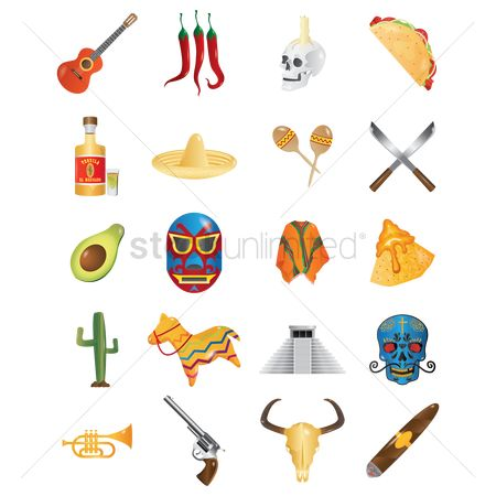 Bull : Set of mexico icons