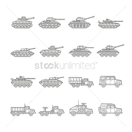 Wheel : Set of military vehicle icons