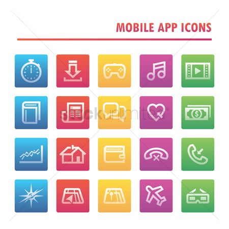 Love speech bubble : Set of mobile app icons