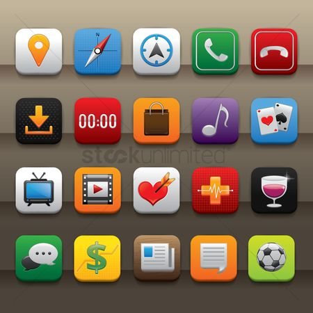 Plus : Set of mobile application icons