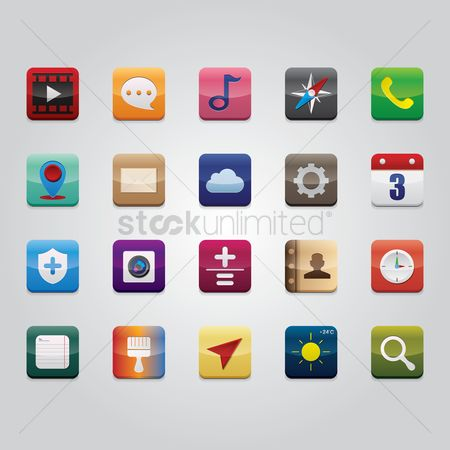 Temperatures : Set of mobile application icons