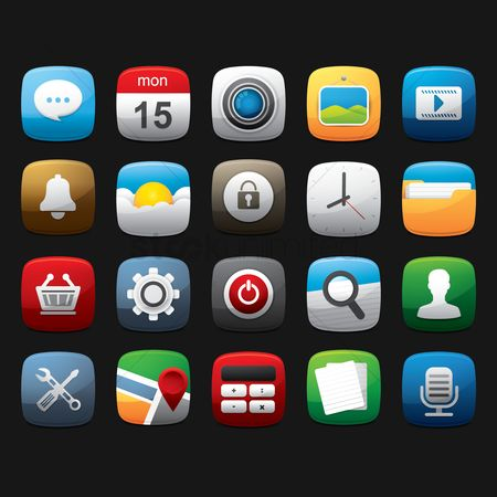 Cameras : Set of mobile application icons
