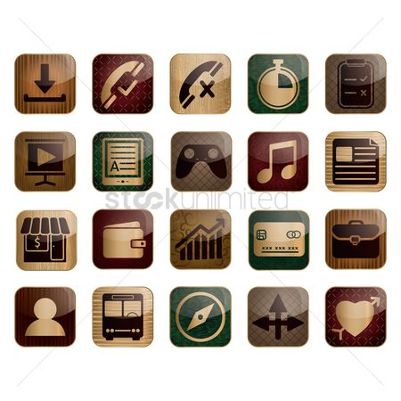 Wooden sign : Set of mobile icon
