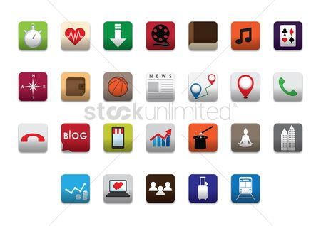 Online shopping : Set of mobile icons