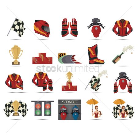 Race : Set of motor racing icons
