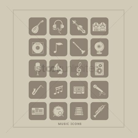 Trumpets : Set of music icons