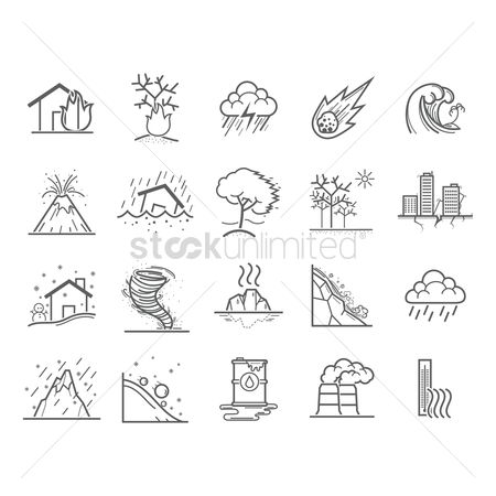 Falling : Set of natural disaster icons
