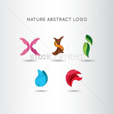 Water drops : Set of nature abstract logo elements