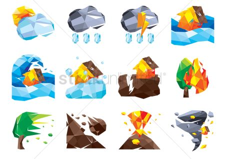 Falling : Set of nature icons