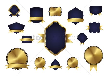 Badge : Set of navy blue and gold badge icons