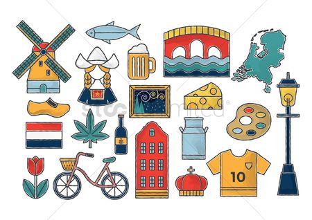 Traditions : Set of netherlands icons