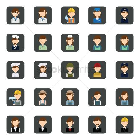 Brushes : Set of occupation icons
