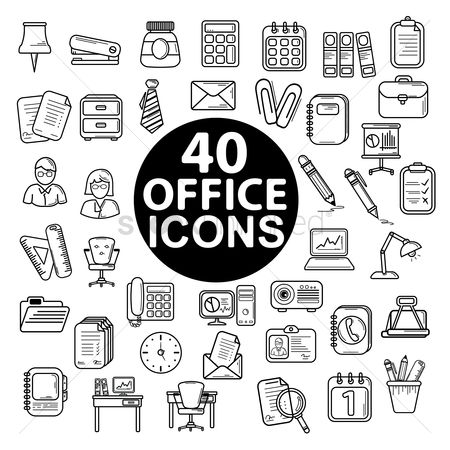 Magnifying : Set of office icons